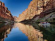 Canyon walls reflect in the Colorado River on Day 13 of 16 days rafting 226 miles down Grand Canyon National Park, Arizona, USA.
