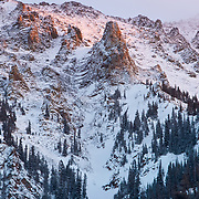 A winter storm break yields color over the sky of the Ten-Mile Range Colorado.