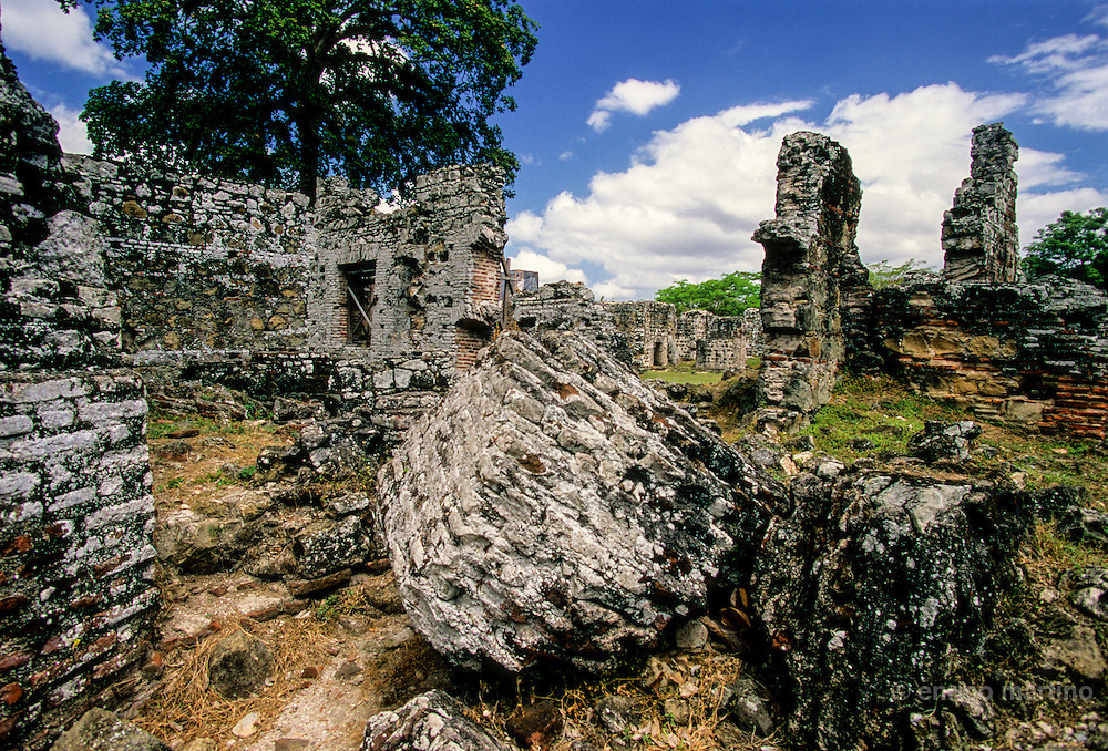 Panama Viejo, ruins of the first European city of Americas destroyed by Henry Morgan in 1671. There were thousands of houses, some stocked with foreign goods
