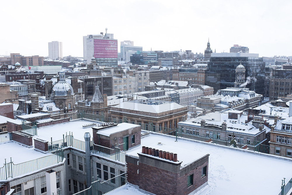 """© Licensed to London News Pictures. 28/02/2018. <br /> <br /> Rooftops over Glasgow city centre, as Scotland is hit with snow storm """"Beast from the East"""" on 28th February 2018.<br /> <br /> Photo credit should read Max Bryan/LNP"""
