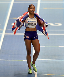 Great Britain's Shelayna Oskan-Clarke reacts after winning bronze in the women's 800m final during day four of the 2018 IAAF Indoor World Championships at The Arena Birmingham.