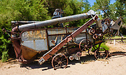 Historic farm harvesting equipment in Benton Hot Springs, Mono County, California, USA. Benton Hot Springs (elevation 5630 feet) saw its heyday from 1862 to 1889 as a supply center for nearby mines. At the end of the 1800s, the town declined and the name Benton was transferred to nearby Benton Station.