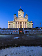 Helsinki Cathedral in Helsinki, Finland. The beautiful and historically significant Helsinki Cathedral is an Evangelic Lutheran church, and for many it is the symbol of Helsinki.
