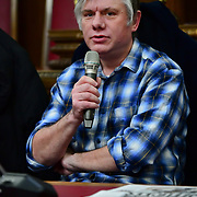 Speaker Jacek Szymanski, EU citizen of the  Stand Up To Racism  hosts Challenging the hostile environment and racism will democracy breaking its own law with Jeremy Corbyn labelling Brexit European  stealing job, Migrant rapist, Muslim terrorists, Muslim Grooming, African/Black is a criminal or rapist, Chinese the #coronavirus and let the refugees drown at Islington Town Hall on 6 March 2020, London, UK.