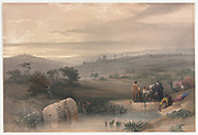 Jerusalem from the North 1839 Color lithograph by David Roberts (1796-1864). An engraving reprint by Louis Haghe was published in a the book 'The Holy Land, Syria, Idumea, Arabia, Egypt and Nubia. in 1855 by D. Appleton & Co., 346 & 348 Broadway in New York.