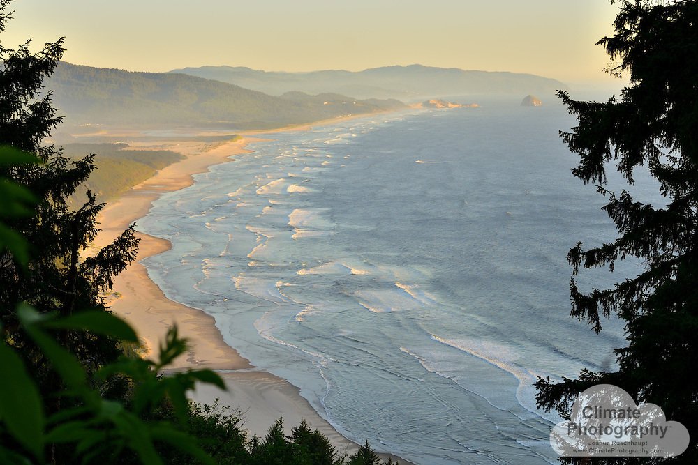 The Sand Lake Recreation Area and Cape Kiwanda State Natural Area from Cape Lookout State Park.  This appeared to be the only unblocked view of the shoreline from the mountainside.  Perhaps an ancient power line was strung over this mountain through here.  The sunset was gorgeous, as the ocean mist blew onshore.