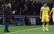 Chelsea Manager Jose Mourinho tells his players to calm it during the Champions League match between Paris Saint-Germain and Chelsea at Parc des Princes, Paris, France on 17 February 2015. Photo by Phil Duncan.