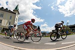 05.07.2011, AUT, 63. OESTERREICH RUNDFAHRT, 3. ETAPPE, Kitzbühel-Lienz, im Bild EDET Nicolas (FRA, #24) EDET Nicolas (FRA, #104), VELITS Martin (SVK, #18) bei der Ortsdurchfahrt von Lienz am Kreisverkehr Mittereggerkreuz // during the 63rd Tour of Austria, Stage 3, 2011/07/05, EXPA Pictures © 2011, PhotoCredit: EXPA/ J. Groder