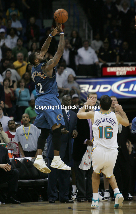 Peja Stojakovic #16 defends as DeShawn Stevenson #2 hits the winning shot as the clock expired giving the Washington Wizards a 95-92 win over the New Orleans Hornets on February 25, 2008 at the New Orleans Arena in New Orleans, Louisiana.