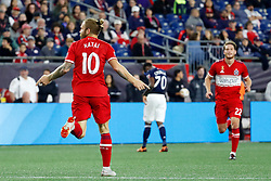 September 22, 2018 - Foxborough, MA, U.S. - FOXBOROUGH, MA - SEPTEMBER 22: Chicago Fire midfielder Aleksandar Katai (10) celebrates opening the scoring during a match between the New England Revolution and the Chicago Fire on September 22, 2018, at Gillette Stadium in Foxborough, Massachusetts. The teams played to a 2-2 draw. (Photo by Fred Kfoury III/Icon Sportswire) (Credit Image: © Fred Kfoury Iii/Icon SMI via ZUMA Press)