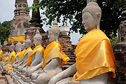 Buddha statues at Wat Yai Chai Mongkhon Buddhist Temple on 6th March 2016 in Ayuthaya, Northern Thailand. Wat Yai Chai Mongkhon or the Great Monastery of Auspicious Victory was built by King U Thong in 1357 to house monks from Sri Lanka.