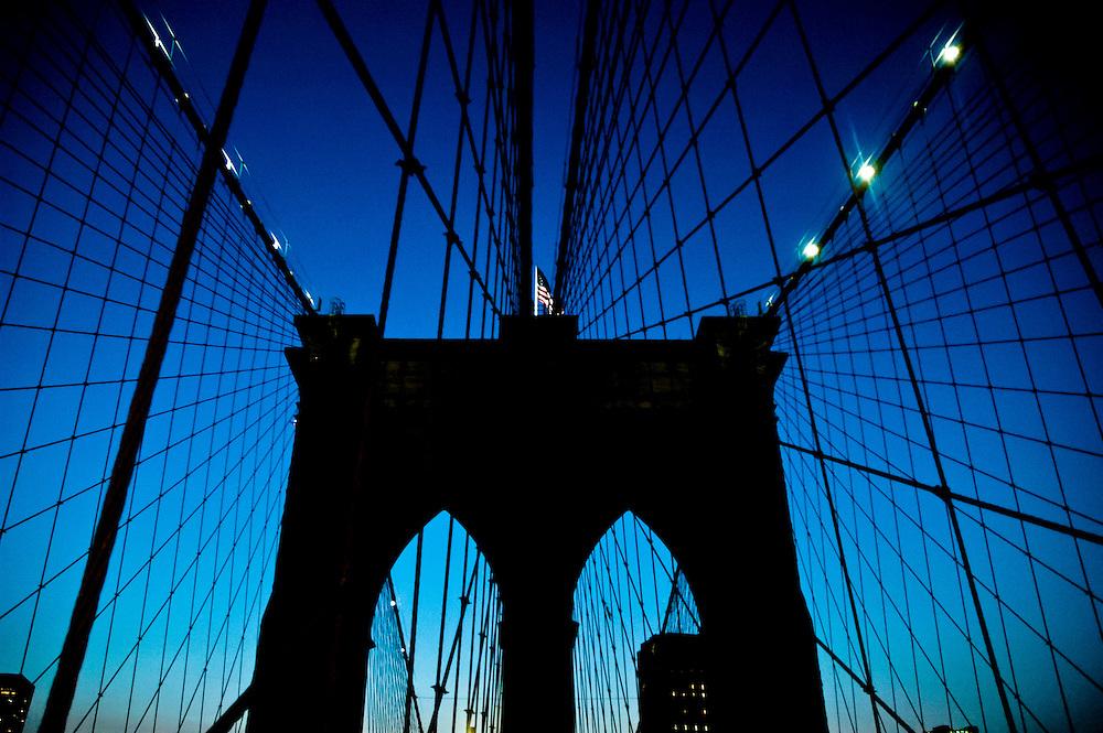 A pillar of the Brooklyn bridge at sunset, Brooklyn, new York.
