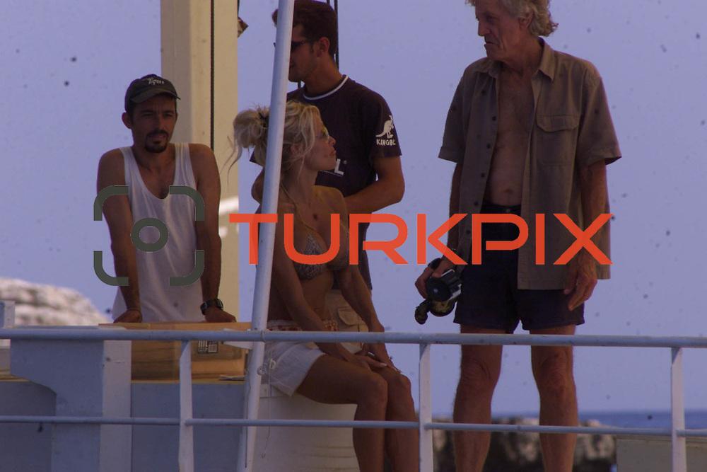Pamela Anderson with Boy Friends Kid Rock holiday in Bodrum at Turkey. Pamela with Kid during their Bodrum beach.<br /> Photo by Aykut AKICI/TURKPIX