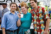 New found friends after getting buzz cut on the street. Grand Old Day Street Fair St Paul Minnesota USA