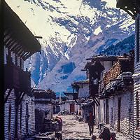 Narrow streets and whitewashed walls in Tukche village,Kali Gandaki Valley, Nepal.