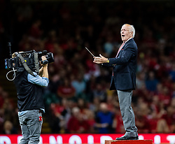 The conductor of the Male Voice Choir sings along with Delilah <br /> <br /> Photographer Simon King/Replay Images<br /> <br /> Friendly - Wales v Ireland - Saturday 31st August 2019 - Principality Stadium - Cardiff<br /> <br /> World Copyright © Replay Images . All rights reserved. info@replayimages.co.uk - http://replayimages.co.uk