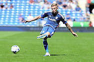 Cardiff city's Joe Ralls crosses the ball. Skybet football league championship match, Cardiff city v Fulham at the Cardiff city stadium in Cardiff, South Wales on Saturday 8th August  2015.<br /> pic by Carl Robertson, Andrew Orchard sports photography.