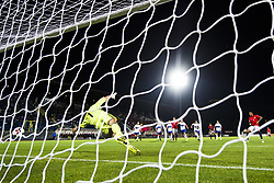 October 5, 2017 - San Marino, SAN MARINO - 171005 Joshua King of Norway scores 2-0 on a penalty kick behind goalkeeper Aldo Junior Simoncini of San Marino during the FIFA World Cup Qualifier match between San Marino and Norway on October 5, 2017 in San Marino. .Photo: Fredrik Varfjell / BILDBYRN / kod FV / 150027 (Credit Image: © Fredrik Varfjell/Bildbyran via ZUMA Wire)