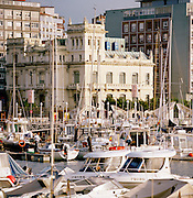 The harbour filled with boats in Gijon, Asturias, Spain