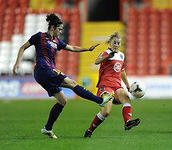 Bristol Academy Womens' Nikki Watts  closes down the ball - Photo mandatory by-line: Dougie Allward/JMP - Mobile: 07966 386802 - 13/11/2014 - SPORT - Football - Bristol - Ashton Gate - Bristol Academy Womens FC v FC Barcelona - Women's Champions League