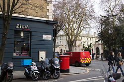 A Zizzi restaurant, part of the same chain of restaurants involved in the Salisbury poisoning, just yards from the Russian embassy in Kensington, on the day of British Prime Minister Theresa May's decision to expel 23 diplomatic officials in the wake of the Salisbury poisoning incident which has former double agent Sergei Skripal and his daughter along with a police officer who tried to assist.. London, March 14 2018.