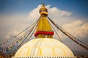 Boudhanath stupa, Kathmandu, Nepal. It is one of the largest stupas in the world and a UNESCO world heritage site.