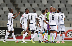 Cape Town-181002- Bidvest Wits players confronting the referee after their goal againt  Cape Town City was not allowed in a PSL clash at the Cape Town stadium.Wits are fighting to get back the top spot after poor display in their last two games .Photographs:Phando Jikelo/African News Agency/ANA