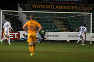 Danny Hylton of Luton Town (9)scores his teams 1st goal from a penalty. EFL Skybet football league two match, Newport county v Luton Town at Rodney Parade in Newport, South Wales on Tuesday 21st March 2017.<br /> pic by Andrew Orchard,  Andrew Orchard sports photography.