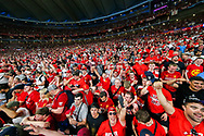 CHAMPIONS Liverpool football fans, football supporters celebrate after Liverpool win the UEFA Champions League Final match between Tottenham Hotspur and Liverpool at Wanda Metropolitano Stadium, Madrid, Spain on 1 June 2019.