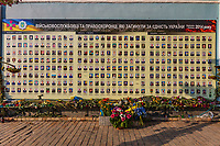 Kiev , Ukraine - August 30, 2019 : memorial for the revolution dead soldiers on the walls of St. Michael's Golden-Domed Monastery