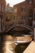 Street View of a canal in the Dorsoduro district. Venice, Italy, Europe