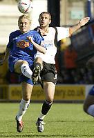 Photo. Aidan Ellis.Digitalsport<br /> Stockport County v Luton Town.<br /> Coca-Cola League Division 1.<br /> 18/09/2004.<br /> Stockport's Derek Geary and Luton's Rowan Vine