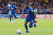 AFC Wimbledon striker Andy Barcham (17) dribbling during the EFL Sky Bet League 1 match between AFC Wimbledon and Coventry City at the Cherry Red Records Stadium, Kingston, England on 11 August 2018.