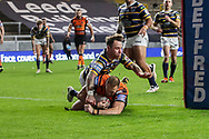 Liam Watts try  during the Betfred Super League match between Leeds Rhinos and Castleford Tigers at Emerald Headingley Stadium, Leeds, United Kingdom on 26 October 2020.