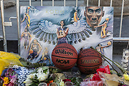 Fans of Kobe Bryant gather near and around the Staples Center to mourn and leave flowers and gifts.<br /> 1/28/2020 Downtown Los Angeles, CA, USA.<br /> (Photo by Ted Soqui)