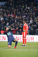 Edinson Roberto Paulo Cavani Gomez (psg) (El Matador) (El Botija) (Florestan) scored the third goal against Steve MANDANDA (Olympique de Marseille) in the background, celebration during the French Cup, quarter final football match between Paris Saint-Germain and Olympique de Marseille on February 28, 2018 at Parc des Princes Stadium in Paris, France - Photo Stephane Allaman / ProSportsImages / DPPI