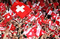 GEPA-1106086058 - BASEL,SCHWEIZ,11.JUN.08 - FUSSBALL - UEFA Europameisterschaft, EURO 2008, Schweiz vs Tuerkei, SUI vs TUR. Bild zeigt Fans. Keyword: Fahne, Flagge. <br />Foto: GEPA pictures/ Philipp Schalber