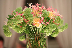 Floral arrangements of the dinner attended the Duke and Duchess of Cambridge at the Royal Palace, Oslo, Norway at the end of the third day of their tour of Scandinavia.