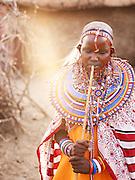 Young Maasai bride on her wedding day, Tipilit village,near Amboseli National Park, Kenya