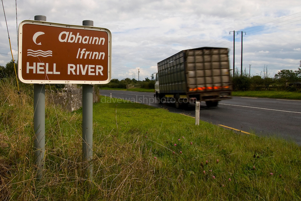 """Sign for Hell River, Tulla, Co. Clare, Ireland. Weird on this - I've yet been able to find out why it's called """"Hell River""""!....The road is the R352 between Ennis and Tuamgraney"""