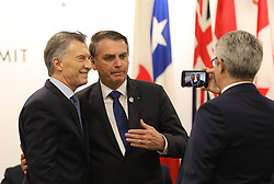 """Mauricio Macri (Argentina's President) and Jair Bolsonaro (Brazil's President) - Side event organized by the Japanese Prime Minister, on the theme """"Promoting the place of women at work"""" at the Intex Osaka congress center at the G20 summit in Osaka, Japan, on June 29, 2019. Photo by Dominque Jacovides/Pool/ABACAPRESS.COM"""