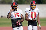Los Angeles Wildcats receivers Tre McBride (15) and Saeed Blacknail (80) during practice, Wednesday, Feb. 5, 2020, in Long Beach, Calif. The Wildcats are part of the eight-team XFL, a professional American football league owned by Vince McMahon's Alpha Entertainment, with  headquarters in Stamford, Connecticut. It is the successor to the original XFL, which was controlled by the World Wrestling Federation (WWF, now WWE)  and NBC, and ran for a single season in 2001.