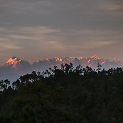 View over Nanda Devi, the highest mountain located entirely within the country. In the Himalaya.