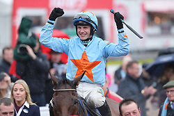 Un De Sceaux and Paul Townend in the parade ring after winning The BoyleSports Champion Steeplechase during day one of the Punchestown Festival at Punchestown Racecourse, County Kildare, Ireland.