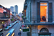 Bourbon Street is the most well known street in the French Quarter of New Orleans and exhibits many examples of the Spanish architectural style the neighborhood is known for.