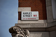 Street sign for the famous Harley Street. This street is best known for it's private medical practitioners, hospitals and doctors.