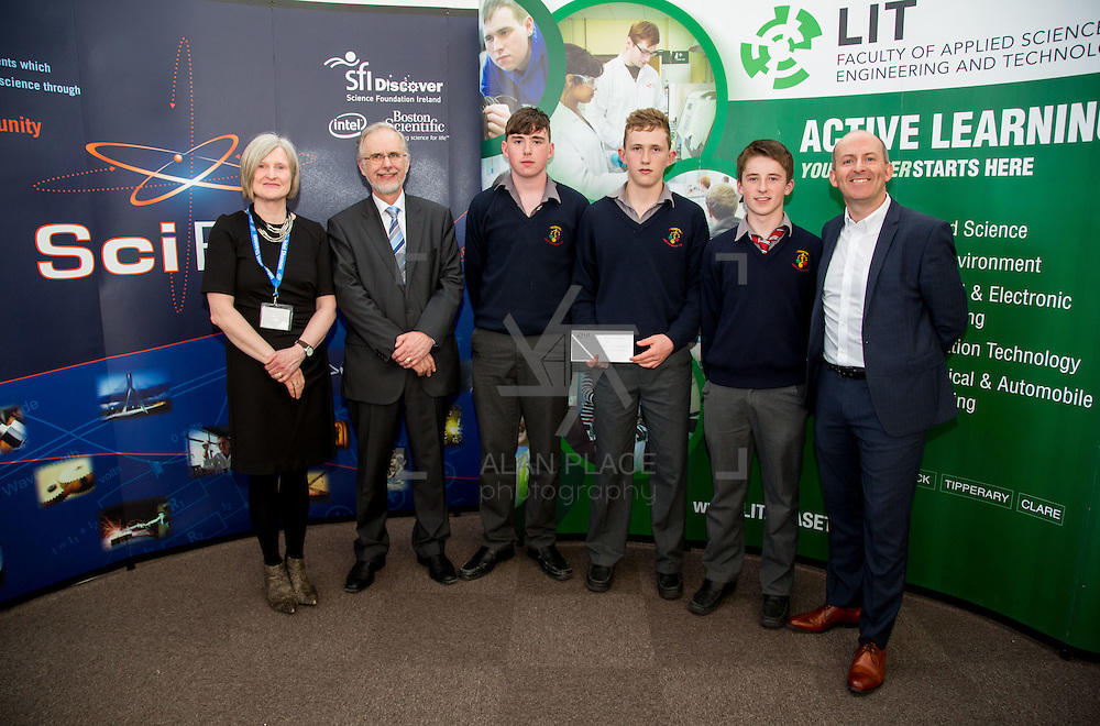 27.04.2016.          <br />  Kalin Foy and Ciara Coyle win SciFest@LIT<br /> Kalin Foy and Ciara Coyle from Colaiste Chiarain Croom to represent Limerick at Ireland's largest science competition.<br /> <br /> John The Baptist Community School students, Thomas Kennedy, Páraic Wixted and Stephen O'Brien's project, Educating the Youth of Ireland on Farm Safety, was Intermed/senior first in the Life Sciences Category.  EThomas Kennedy, Páraic Wixted and Stephen O'Brien are pictured with George Porter, SciFest and Brian Aherne, Intel<br /> <br /> Of the over 110 projects exhibited at SciFest@LIT 2016, the top prize on the day went to Kalin Foy and Ciara Coyle from Colaiste Chiarain Croom for their project, 'To design and manufacture wireless trailer lights'. The runner-up prize went to a team from John the Baptist Community School, Hospital with their project on 'Educating the Youth of Ireland about Farm Safety'. Picture: Fusionshooters