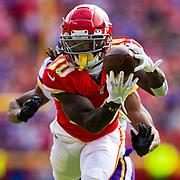 Kansas City Chiefs wide receiver Tyreek Hill (10) touchdown catch during an NFL regular season game against the Minnesota Vikings on Thursday, Nov. 3, 2019 in Kansas City, Mo. The Chiefs won, 26-23. (Ric Tapia via AP)