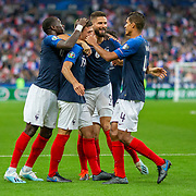 PARIS, FRANCE - September 10: Clement Lenglet #19 of France is congratulated by team mates Olivier Giroud #9 of France, Moussa Sissoko #17 of France and Raphaël Varane #4 of France after scoring his sides second goal during the France V Andorra, UEFA European Championship 2020 Qualifying match at Stade de France on September 10th 2019 in Paris, France (Photo by Tim Clayton/Corbis via Getty Images)
