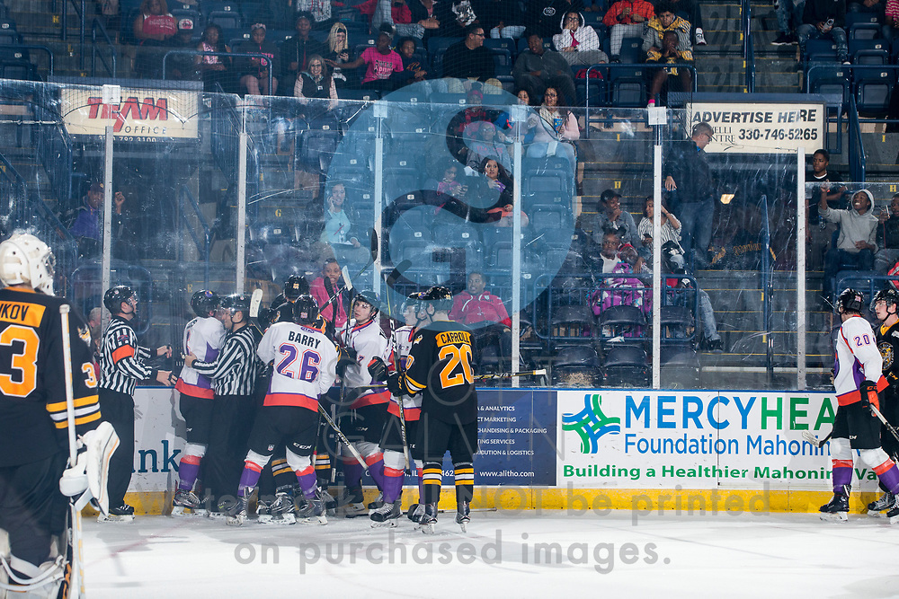 The Youngstown Phantoms lose 2-1 to the Green Bay Gamblers on October 20, 2017.<br /> <br /> Matthew Barry, center, 26; Matthew Thomson, left wing, 27